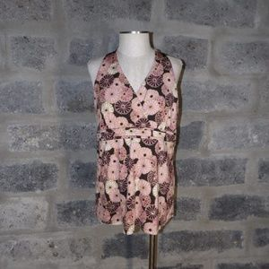 sleeveless brown pink floral top shirt